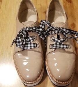 Zara woman lug platform patent shoes 38